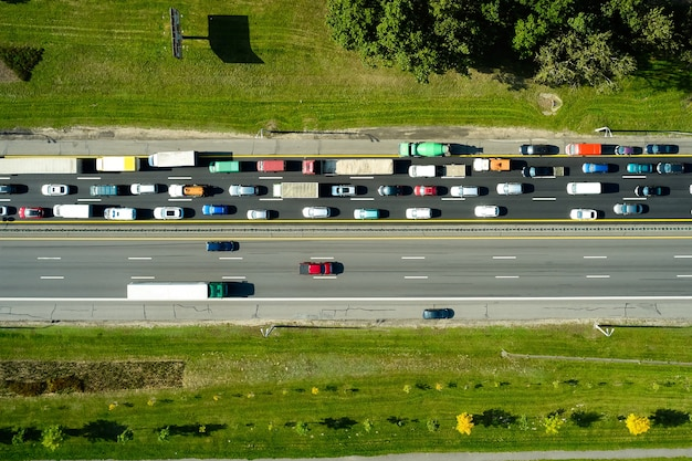 Traffic jam in the rush hour on highway. cars on roads
