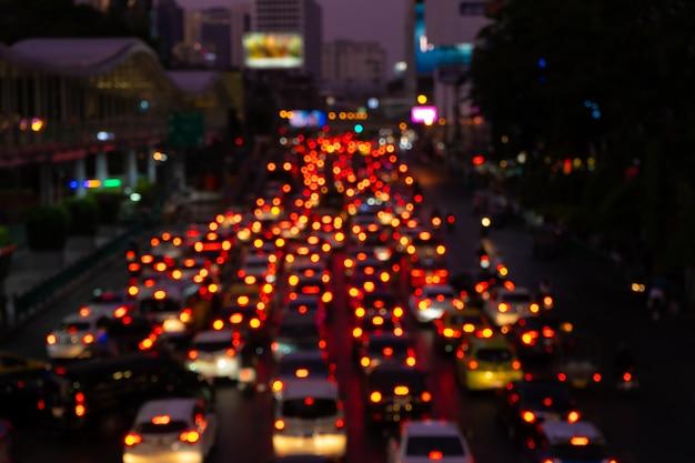 Traffic jam on a wide street