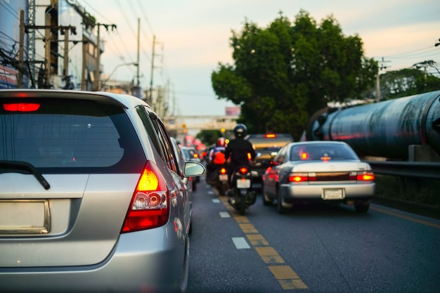 Traffic jams in city with row of cars on road in bangkok
