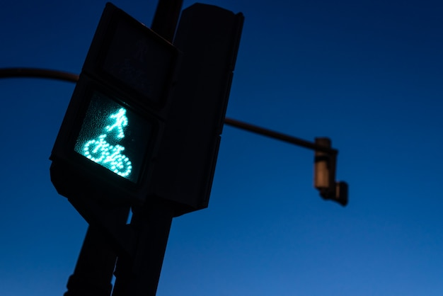 Traffic light in green for pedestrians and cyclists, with the figure of a cyclist.