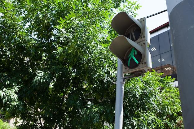 市内の信号機は歩行者用に緑色に点灯しています