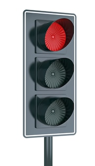 Traffic light, isolated on white, with the red light on.