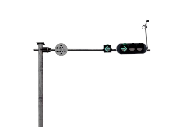Traffic light pole showing the green lights to turn left and turn right isolated on white background.