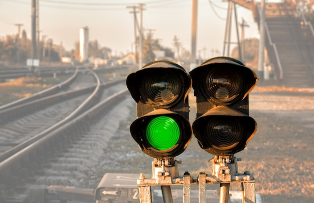 Traffic light shows green signal on railway. transparent background