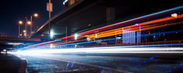Traffic light trails on urban street