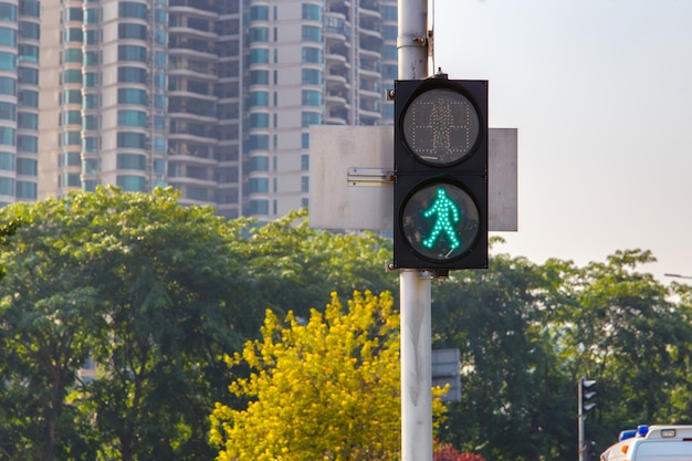 Traffic lights with the green light lit