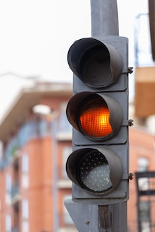 Traffic lights with orange light