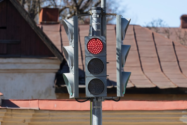 Traffic lights with a red light. traffic ban. high quality photo
