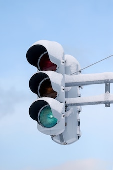 Traffic lights with snow