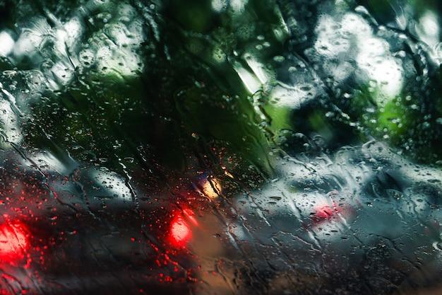 Traffic in rainy day