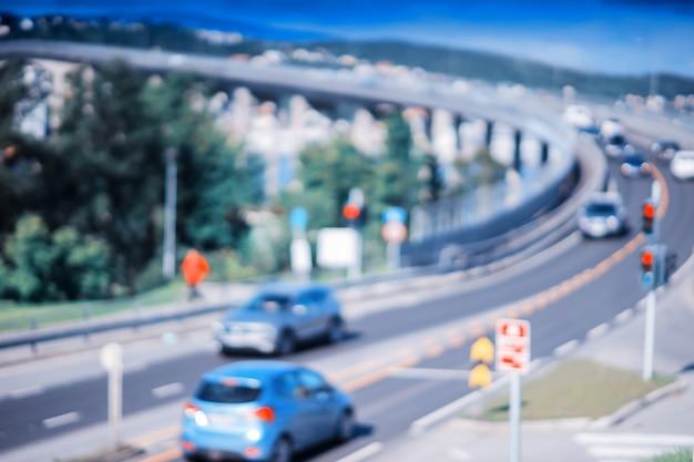 노르웨이 bokeh 배경 hd에서 교통 도로 다리 회전