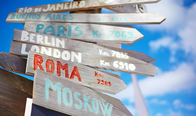 Traffic road  sign including moscow, roma,london,berlin,paris, rio de janeiro on blue sky background in retro style