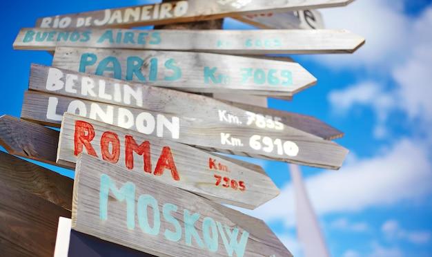 Cartello stradale tra cui mosca, roma, londra, berlino, parigi, rio de janeiro su sfondo blu cielo in stile retrò