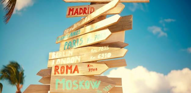 복고 스타일의 푸른 하늘 배경에 모스크바, 로마, 런던, 베를린, 파리, 리오 데 자네이로를 포함한 교통 도로 표지판