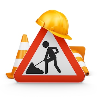 Traffic sign, cones and helmet.