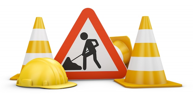 Traffic sign, cones and helmets.