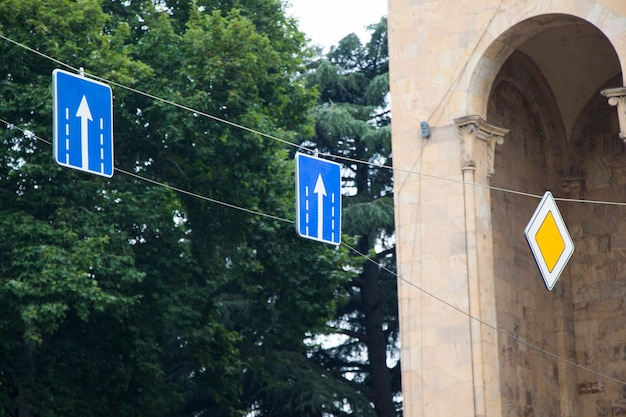 Traffic and street sign for cars and transportation in tbilisi