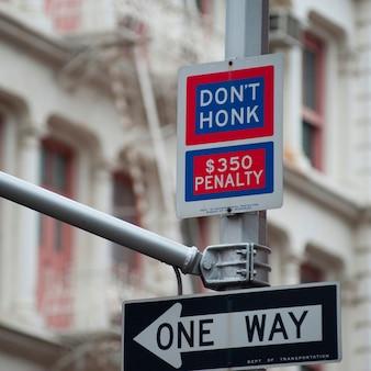 Traffic street signs in manhattan, new york city, u.s.a.