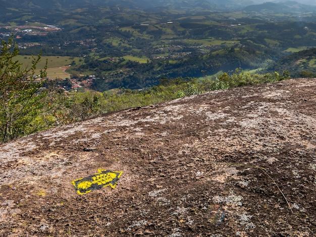 Trail marks in transmantiqueira long trail hike - mantiqueira range brazil