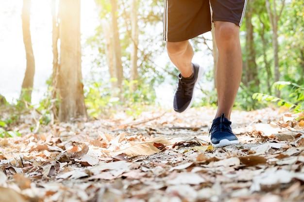 トレイルは、フィットネスのために屋外で運動する男を実行しています。