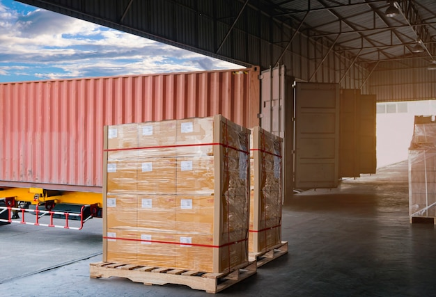 Trailer cargo truck parked loading at dock of warehouse