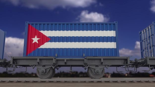 キューバの旗を掲げた列車とコンテナ。鉄道輸送。 3dレンダリング。