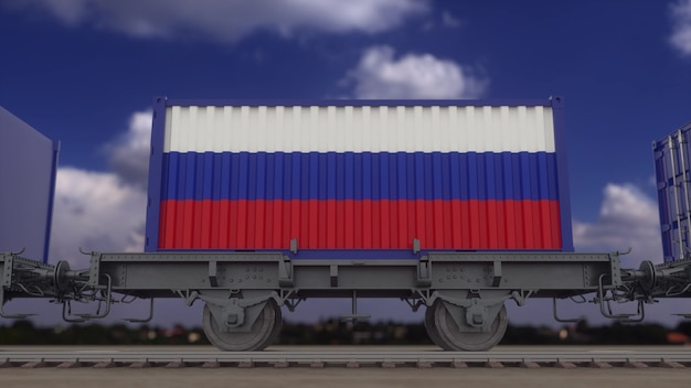 ロシアの旗を掲げた列車とコンテナ。鉄道輸送。 3dレンダリング。