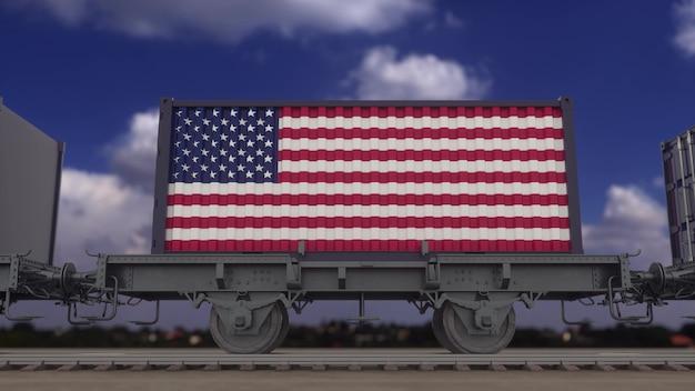Поезд и контейнеры с флагом сша. железнодорожный транспорт. 3d-рендеринг.
