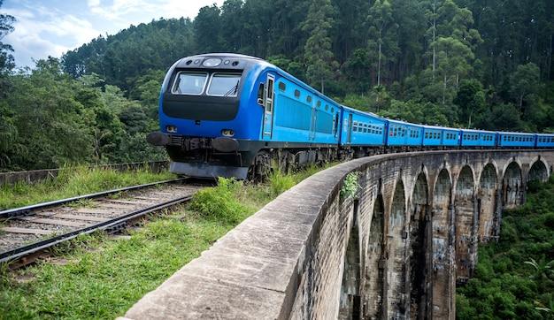 Поезд прибывает на знаменитый девятиарочный мост в элле, шри-ланка