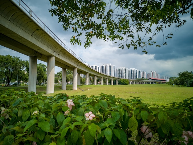 Train bridge in jurong, singapore, with green vegetation in front and blue cloudy sky