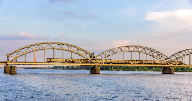 Train on a bridge in riga, latvia