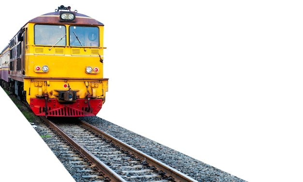 Train, diesel electric locomotive isolated on white background. file contains with clipping paths so it is easy to work.