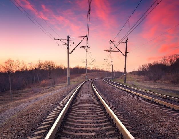Train platform at sunset. railroad. railway station