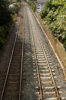 Train rail way road.