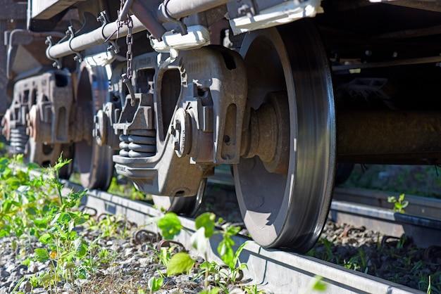 Train rails and wheels closeup