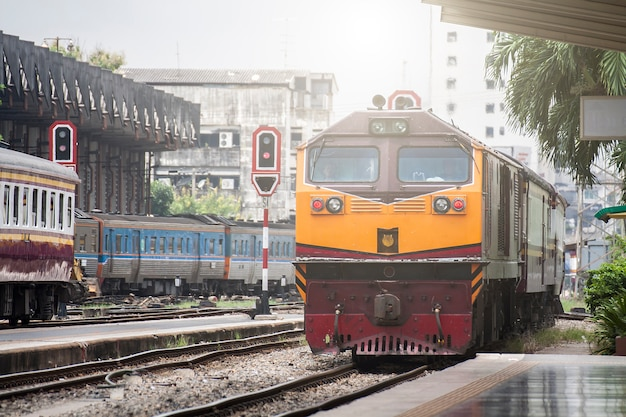 A train running into the station, hua lamphong, country thailand.