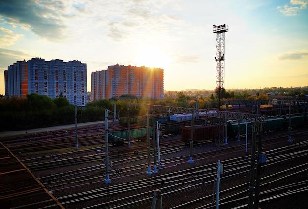 Train station during sunset transportation background