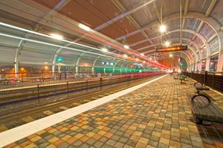 At the train station at night