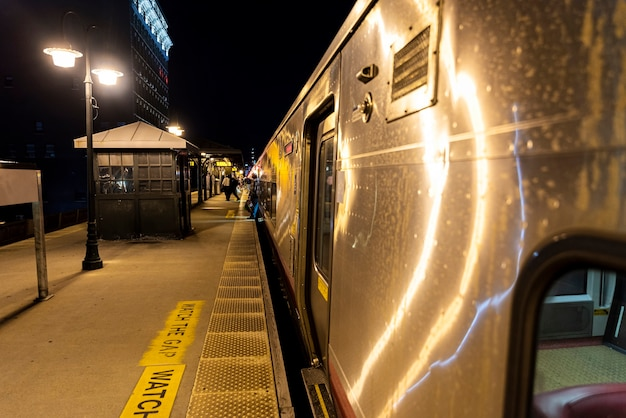 Train in the station at night