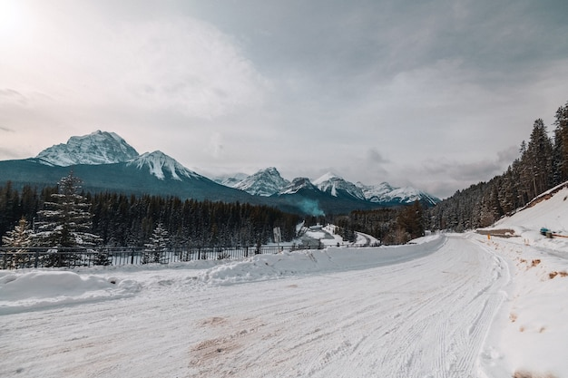 Train track at banff, canada near morants curve
