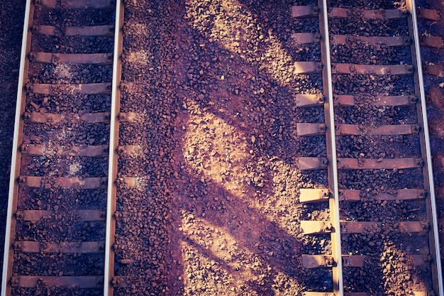 Train tracks in the morning, top view.