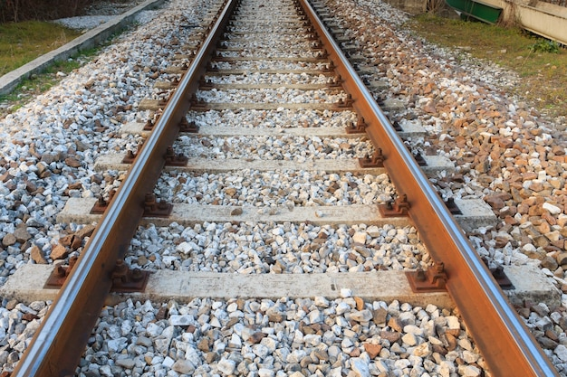 Train tracks in perspective. transportation, outdoor