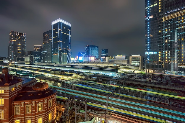 Train trasportation scene of tokyo railway station from terrace at twilight time