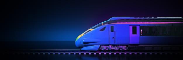 Поезд с темным фоном 3d-рендеринга