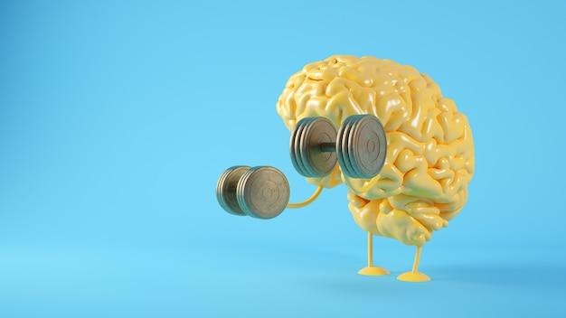 脳の概念の3dレンダリングのトレーニング