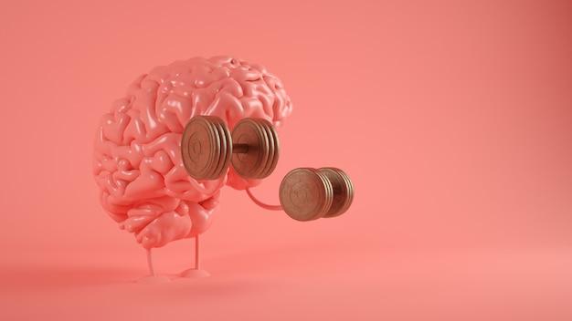 Training brain on pink 3d rendering