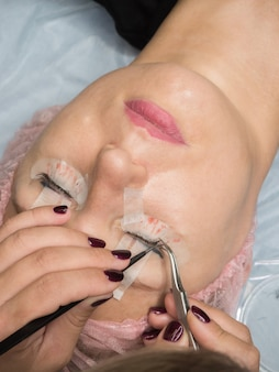 Training eyelash extension. create volume in the lashes.