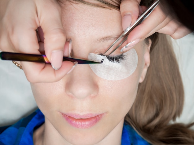 Training eyelash extension. create volume in the lashes.