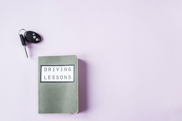 Training notebook for driving lessons and studying the rules of the road for obtaining a driver's license