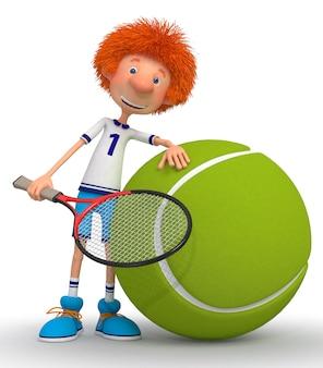 젊은 선수의 테니스 코트에서 훈련